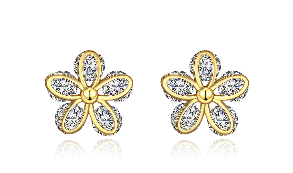 14K Gold Plated White Sapphire Pav'e Paisley Stud Earrings