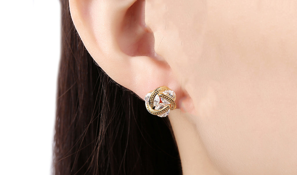 14K Gold Plating White Sapphire Twisted 3-Stone Stud Earrings- Options Available