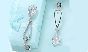 14K White Gold Plating Dangling White  Pear Cut Earrings