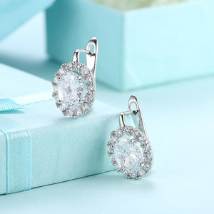 White  Elements Leverback Earrings in 18K White Gold