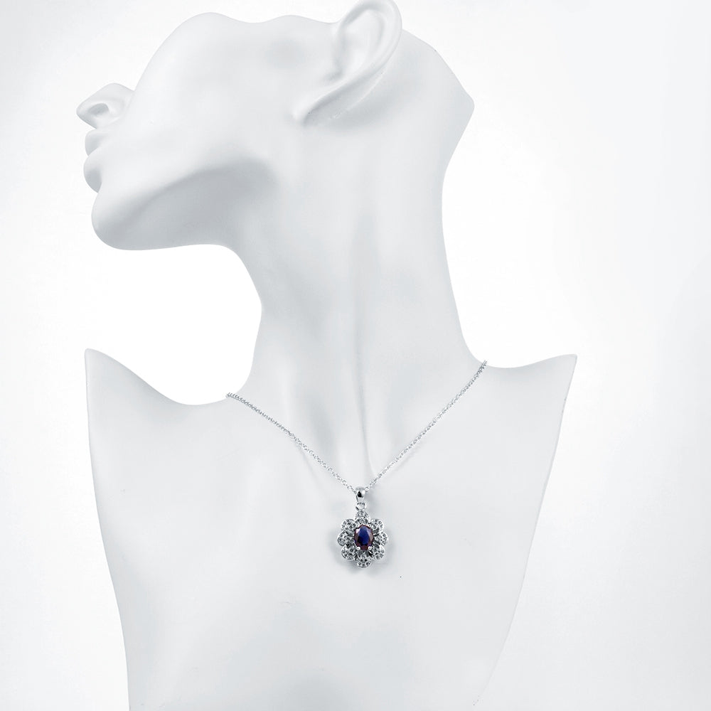 Asti Necklace in 18K White Gold Plated with Swarovski Crystals
