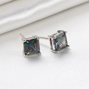 18K White Gold Plated Classic 4 Prong Mystic Topaz  Element Stud Earrings