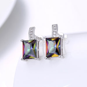 18K White Gold Plated Classic Mystic Topaz Emerald Cut Stud Earrings