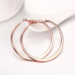 42mm Flat Hoop Earring in 18K Rose Gold Plated, Earring, Riakoob Jewelry, Riakoob Jewelry  jewelryjewelry deals, swarovski crystal jewelry, groupon jewelry,, jewelry for mom,