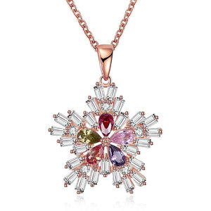 Five Stone Winter Snowflake Necklace set in 18K Rose Gold Plated, Necklaces, Riakoob Jewelry, Riakoob Jewelry  jewelryjewelry deals, swarovski crystal jewelry, groupon jewelry,, jewelry for mom,