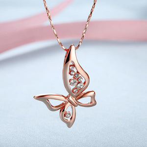 Mothersa Butterfly Necklace in 18K Rose Gold Plated