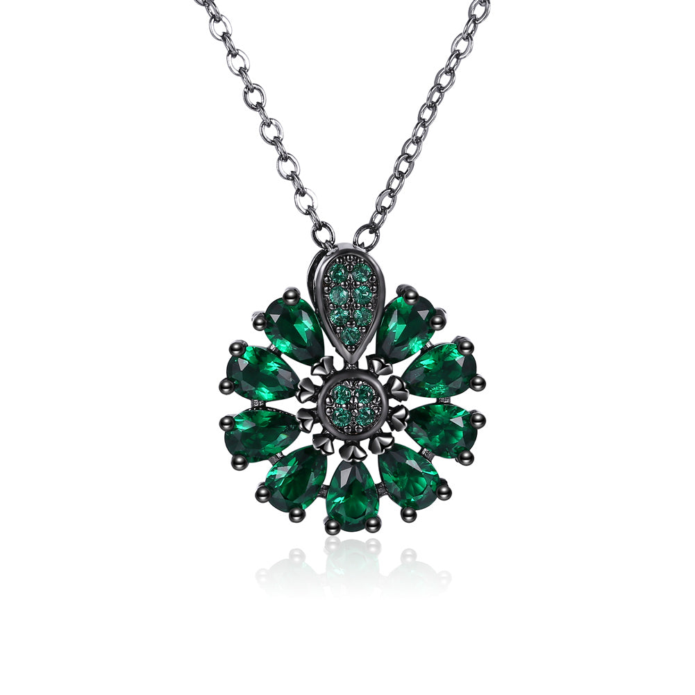 18K Black Plated Burst of Raidance Green Emerald  Crystals Necklace