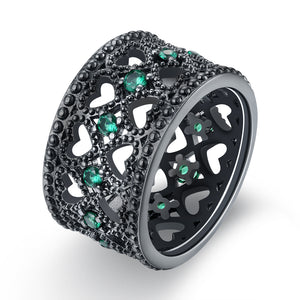 18K Black Plated Double Heart Row Centric Green Emerald  Crystals Ring