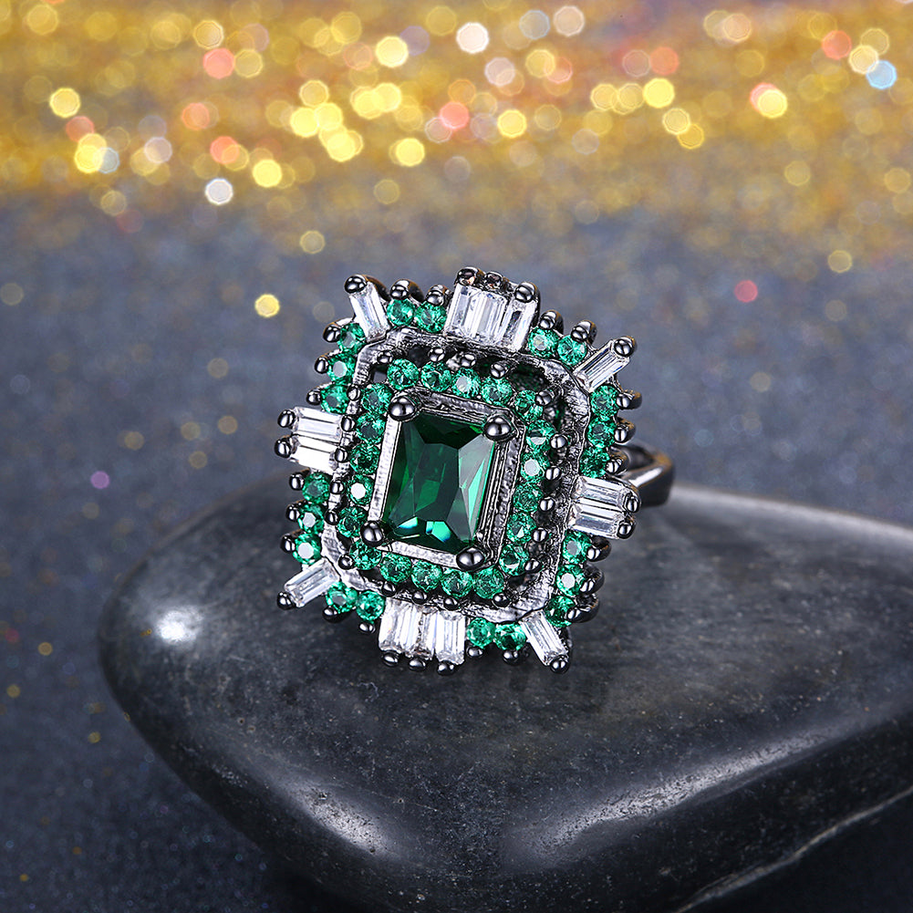 18K Black Plated Double Teired Cocktail Ring With Green Emerald  Crystals Ring