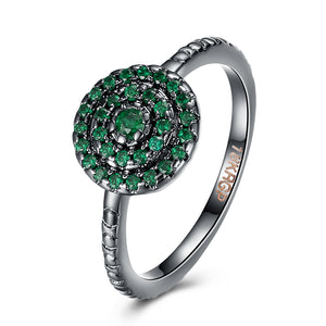 18K Black Plated Pave Round Centric Green Emerald  Crystals Ring