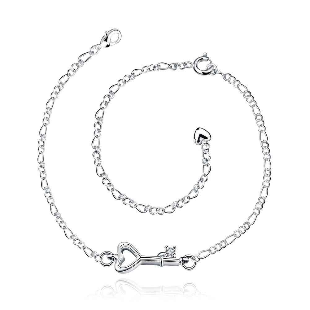 Key to Heart Anklet in 18K White Gold Plated