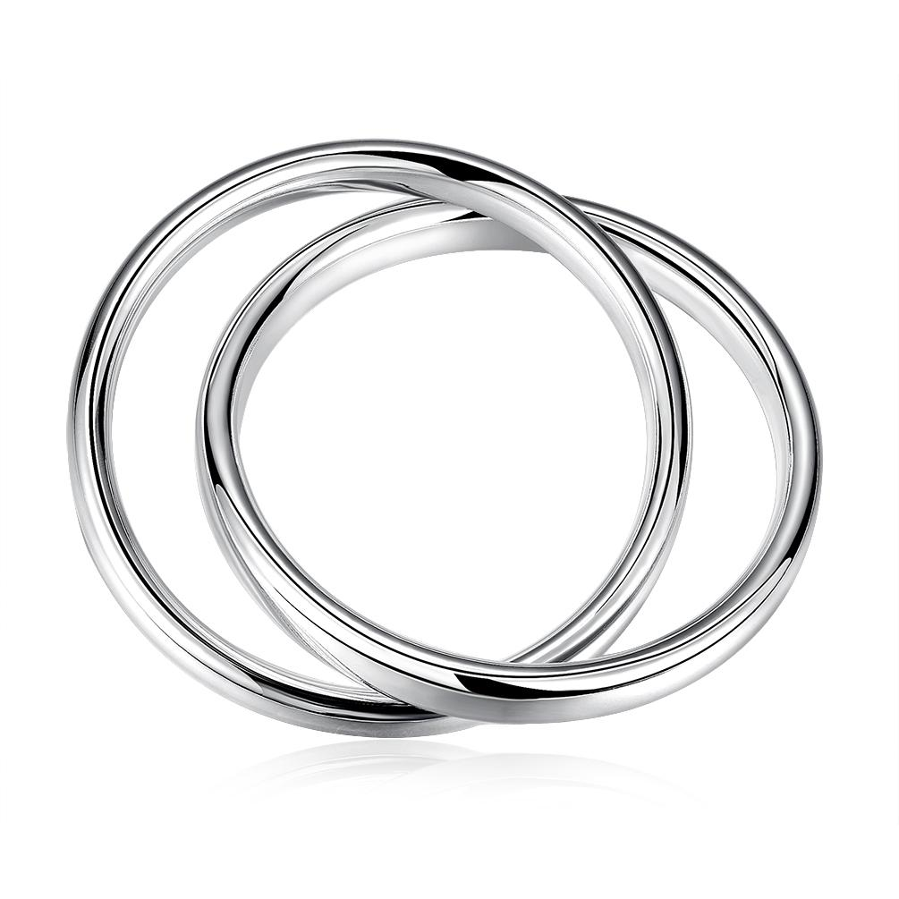 Rolling Bands Bangle in 18K White Gold Plated