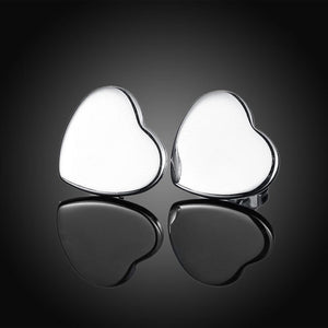 Smooth Heart Stud Earring in 18K White Gold Plated