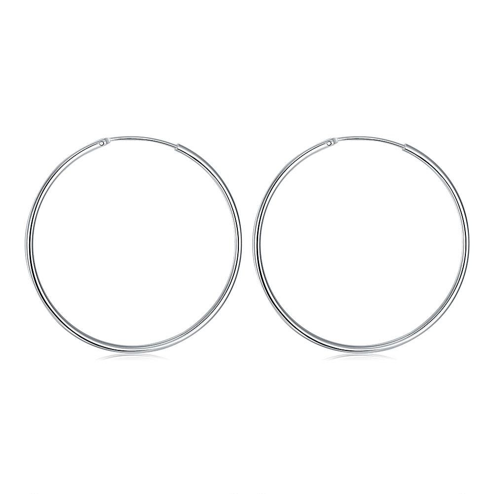 50mm Smooth Hoop Earring in 18K White Gold Plated, Earring, Riakoob Jewelry, Riakoob Jewelry  jewelryjewelry deals, swarovski crystal jewelry, groupon jewelry,, jewelry for mom,