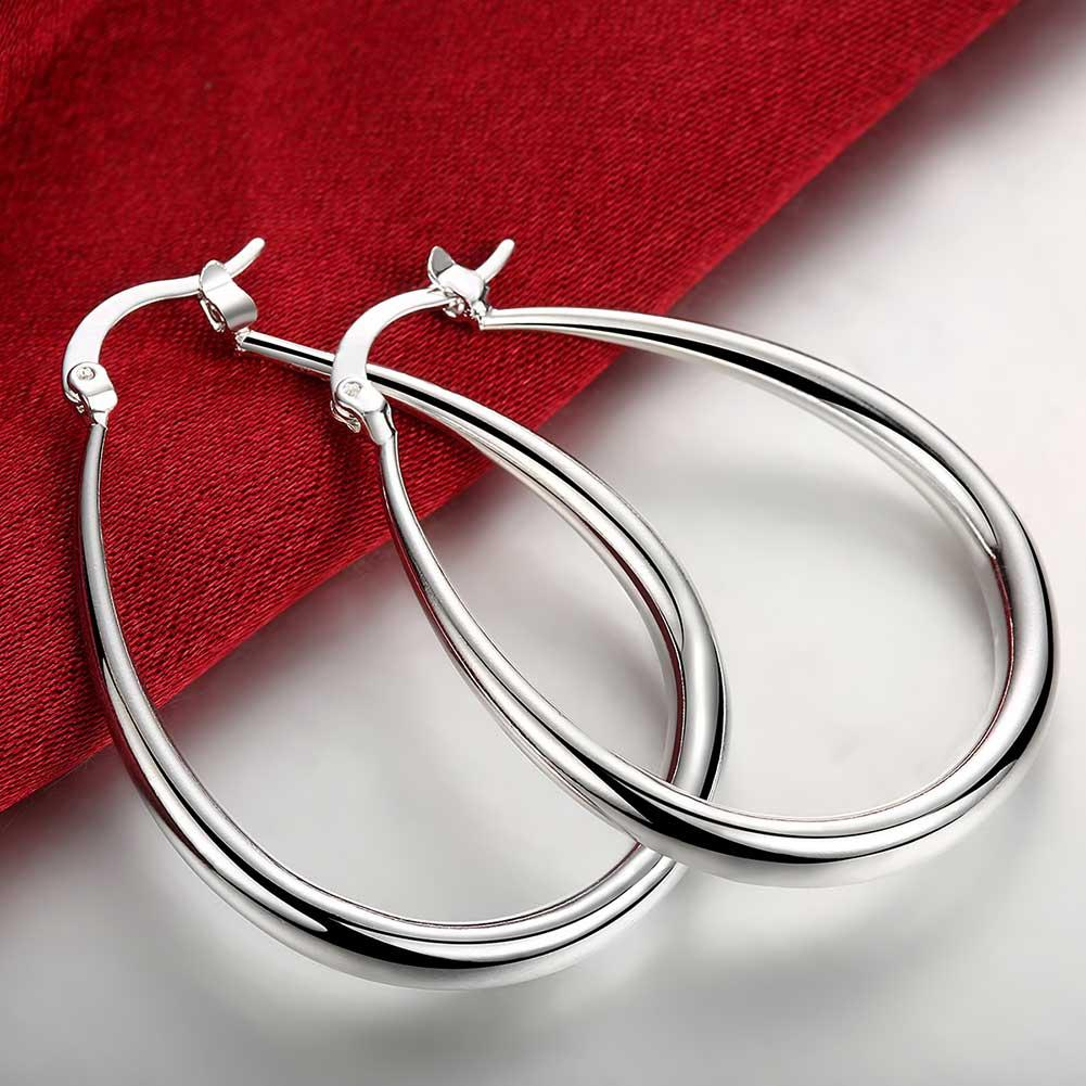 Oval French Hoop Earring in 18K White Gold Plated