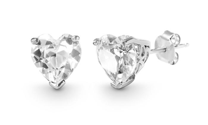 White Topaz Heart Stud Earring in 14K White Gold Plated 6mm