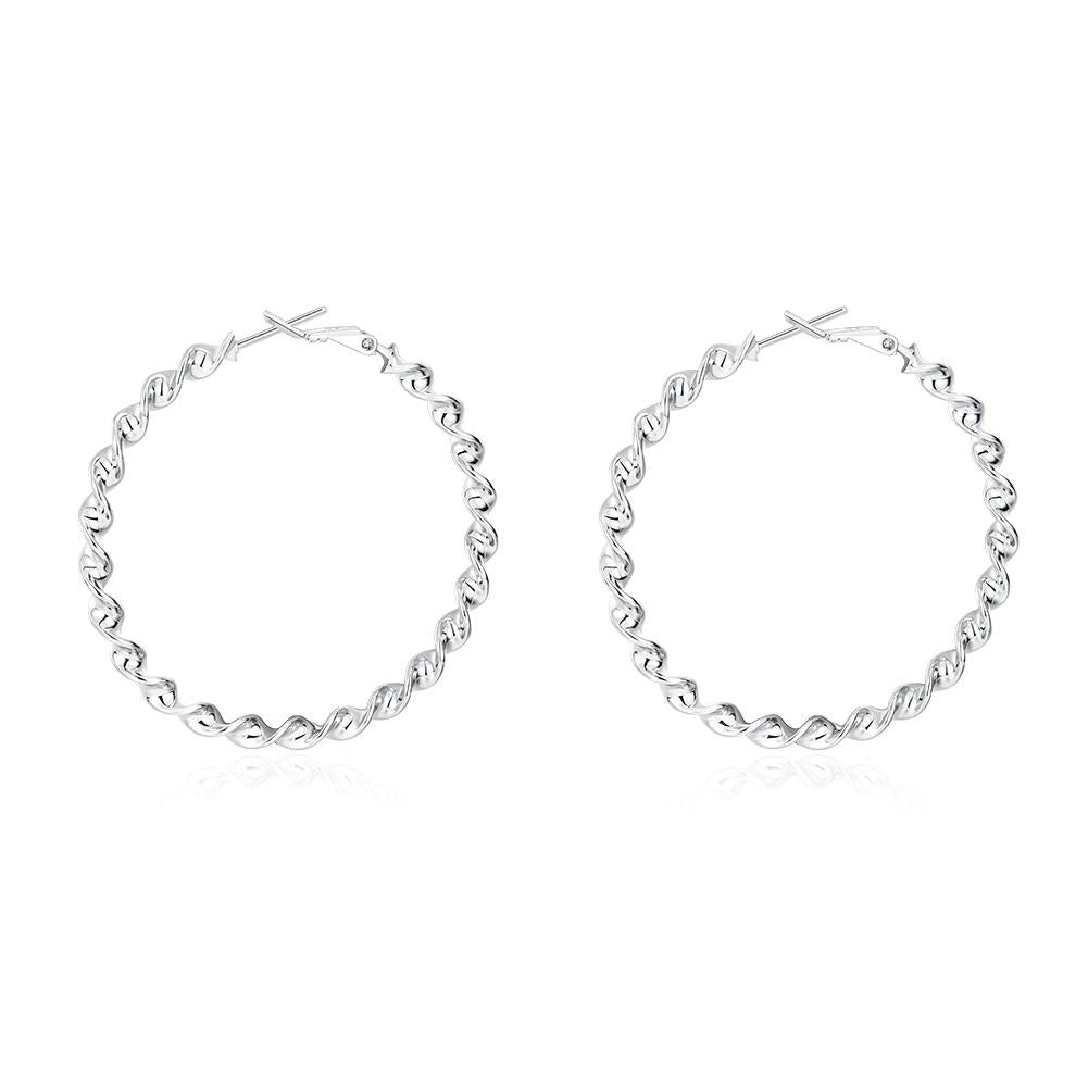 Twist Hoop Earring in 18K White Gold Plated