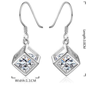 Crystal Cube Drop Earring in 18K White Gold Plated