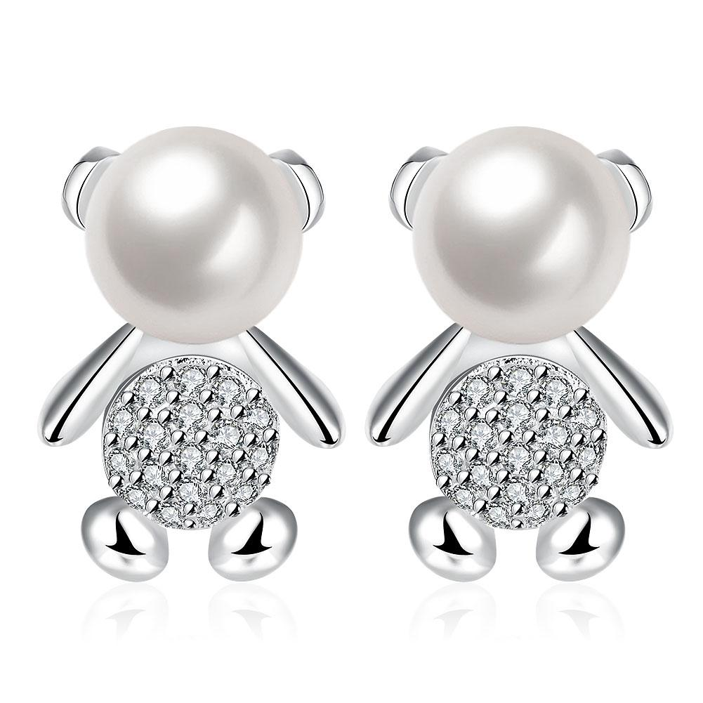 Teddy Bear Stud Earring in 18K White Gold Plated