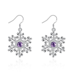 Crystal Amethyst Snowflake Drop Earring in 18K White Gold Plated