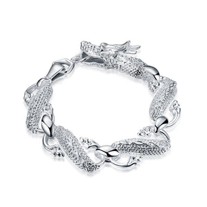Father's Day Gift 14K White Gold Plating Oriental Dragon Link Bracelet