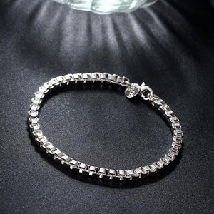 BOX Chain Bracelet in 18K White Gold Plated, Bracelet, Riakoob Jewelry, Riakoob Jewelry  jewelryjewelry deals, swarovski crystal jewelry, groupon jewelry,, jewelry for mom,