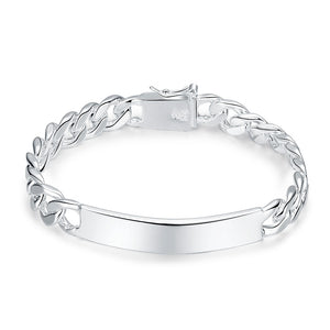 Father's Day 14K White Gold Plating Curb ID Link Bracelet
