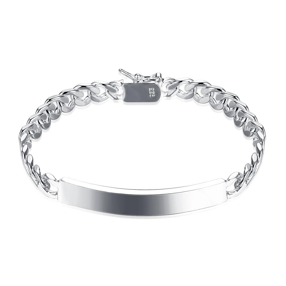 Silver ID-Tag Curb London Bracelet