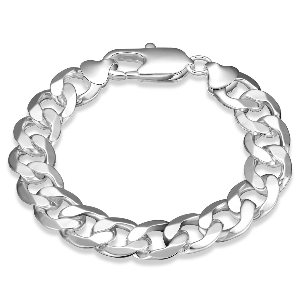 Father's Day Gift Thick Cuban Figaro Men's Bracelet in 14K White Gold Plating