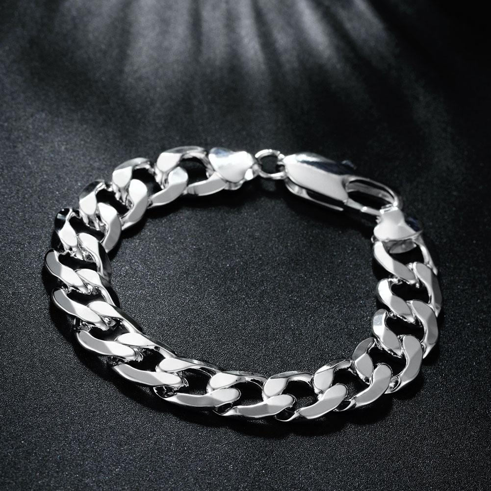Thick Curb Bracelet in 18K White Gold Plated