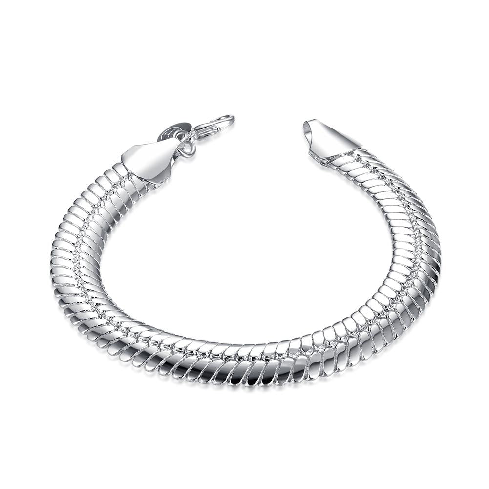 Flat Herringbone Chain Bracelet in 18K White Gold Plated