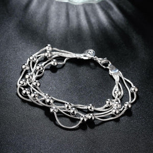 18K White Gold Plated Orchid Pearls Dangling Strands Bracelet