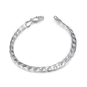 Father's Day Gift Italian Figaro Link Bracelet in 14K White Gold Plating