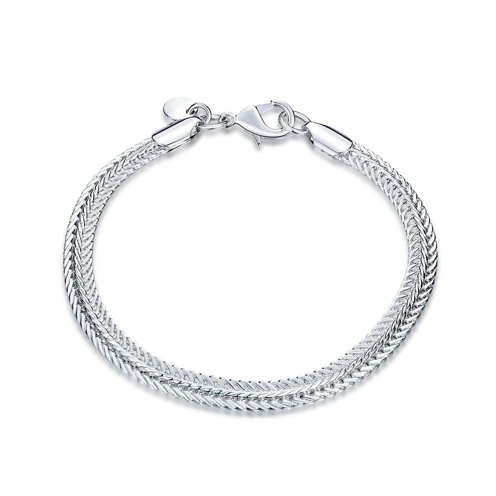 Flat Byzantine Chain Bracelet in 18K White Gold Plated