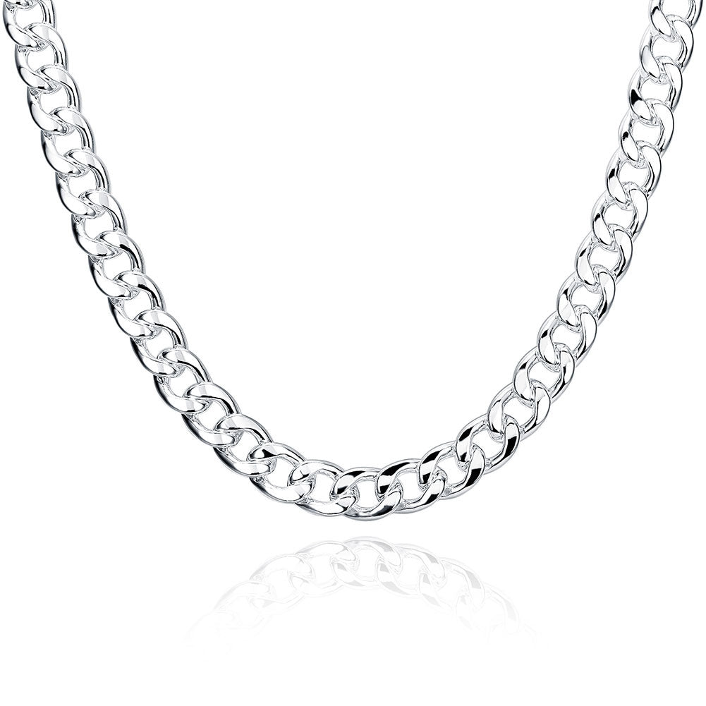Father's Day Thick Italian Curb Chain Necklace in 14K White Gold Plating
