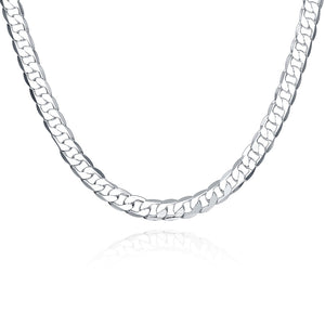 Father's Day Gift Americano Design Curb Necklace in 14K White Gold Plating