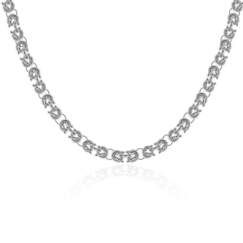 Father's Day Wheat Byzantine Chain Necklace in 14K White Gold Plating