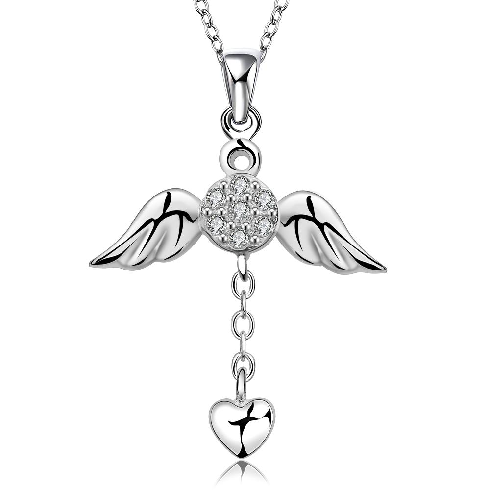 Wings of Angel Necklace in 18K White Gold Plated
