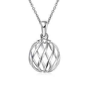 Spiral Ball Necklace in 18K White Gold Plated