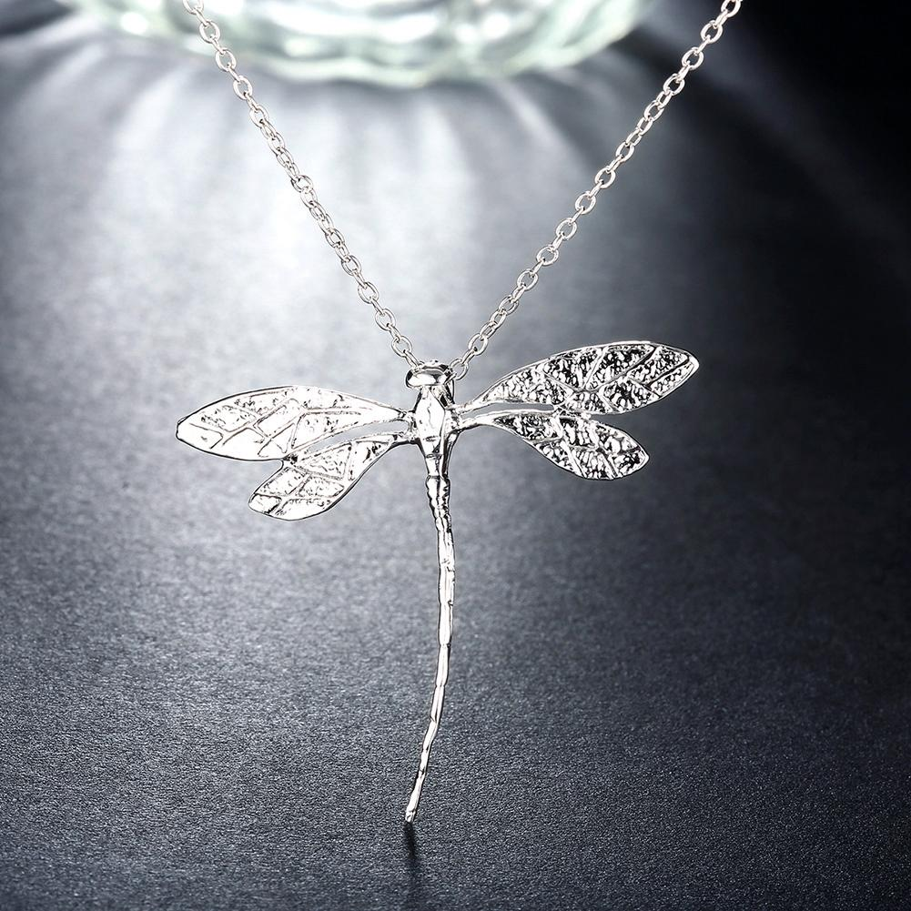 Large Dragonfly Necklace in 18K White Gold Plated