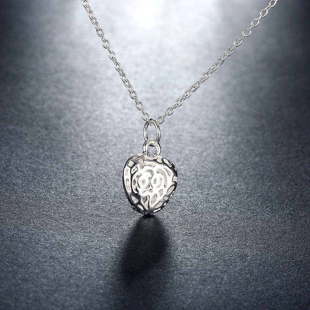 Filigree Heart Necklace in 18K White Gold Plated