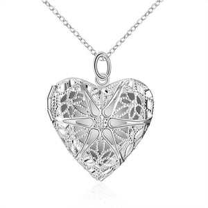 Filigree Large Heart Necklace in 18K White Gold Plated