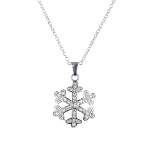 Snowflake Pave Necklace in 18K White Gold Plated