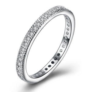 Classic  Crystal Wedding Band Ring Set in 18K White Gold Plated