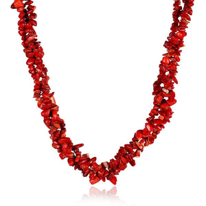Pomegranite Red Passion Natural Stone Necklace in 18K White Gold Plated