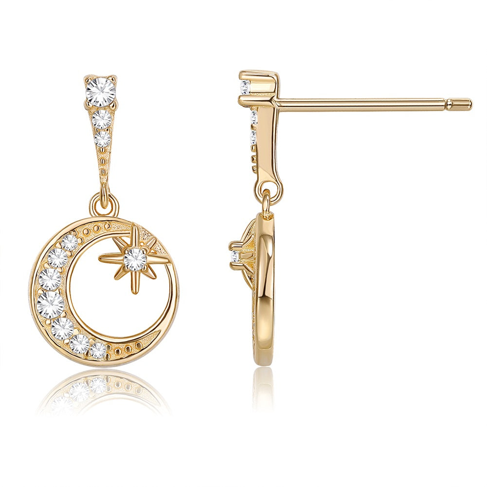 18K Gold Plated Celestial Pave Drop Earrings