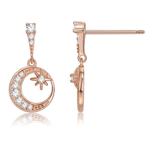 18K Rose Gold Plated Celestial Pave Drop Earrings