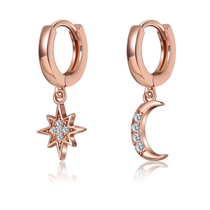 18K Rose Gold Plated Moon & Stars Pave Huggie Earrings