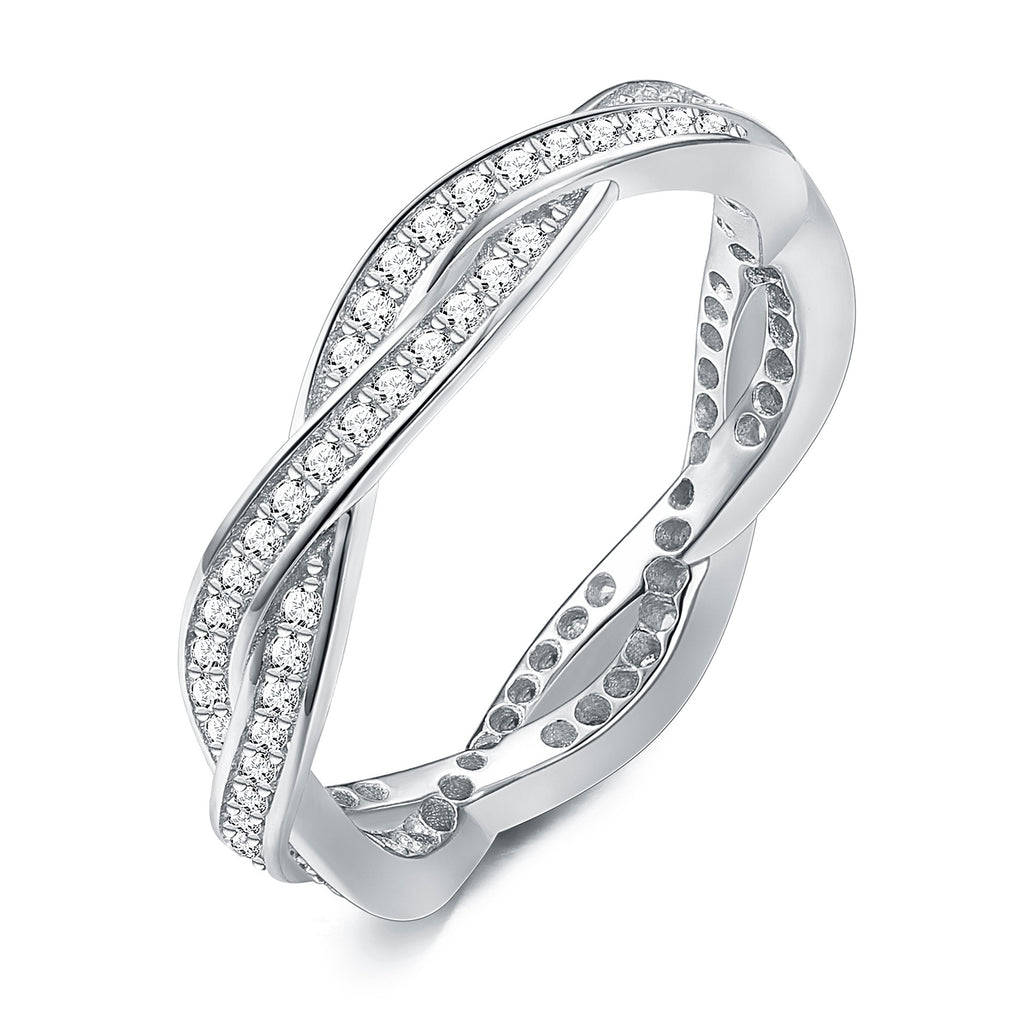 18K White Gold Plated Double Intertwined Row Ring