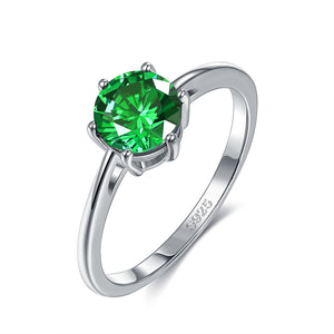 18K White Gold Plated Classic Round Cut Green Emerald Swarovski Crystals Ring